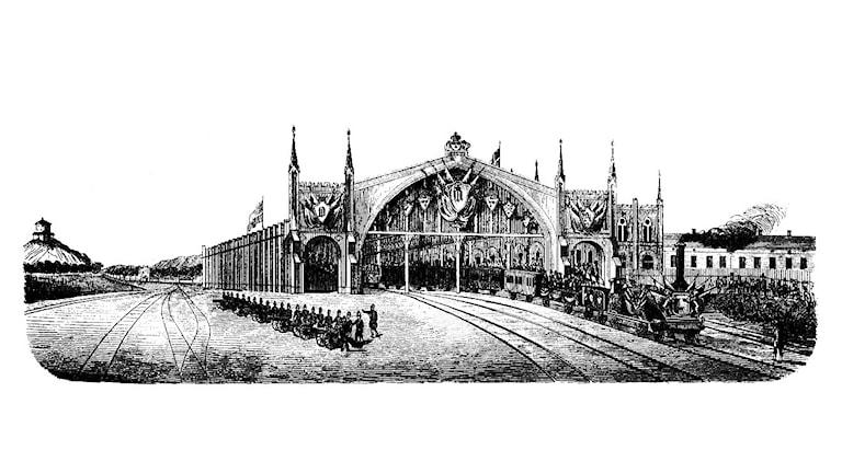 Illustration av invigningen av Göteborg C 1858. Bild: Illustrerad Tidning/Wikimedia Commons/CC-PD