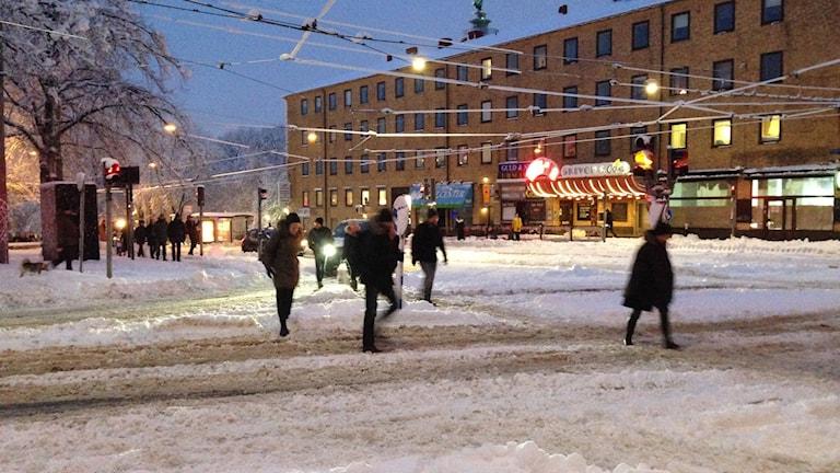 Många fick gå när kolletivtrafiken stod stilla. Foto: Jonathan Otter