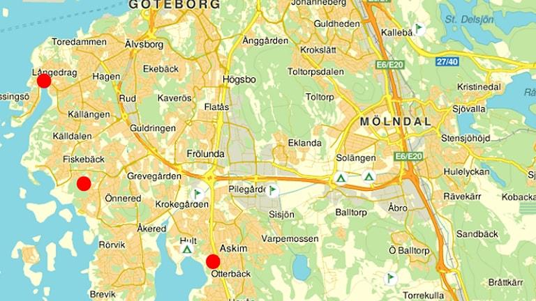 Karta över temporära boenden för flyktingar. Foto: Göteborgs stad