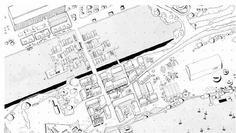 Visionsskiss frihamnen med bostäder på land och i vattnet.
