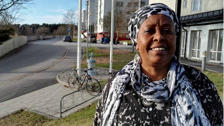 Jamila Said Musse har jobbat mot könsstympning av kvinnor i över 20 år. Foto: Anders Hagström/Sveriges radio