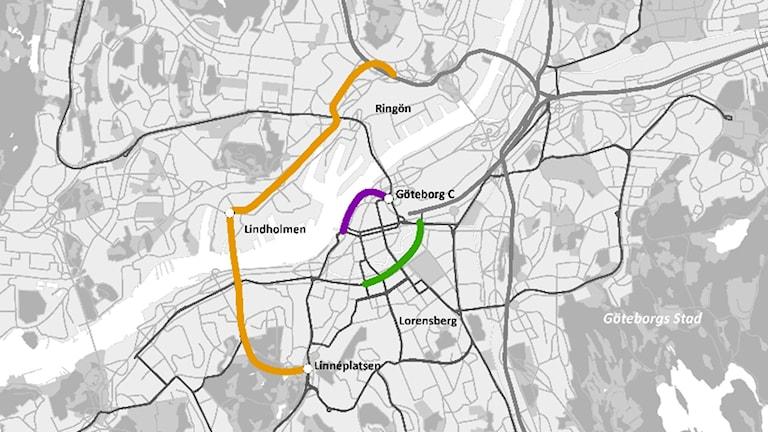 Karta över Göteborg som med sträck i olika färger visar var tre av de fyra nya spårvagnslinjerna ska gå.