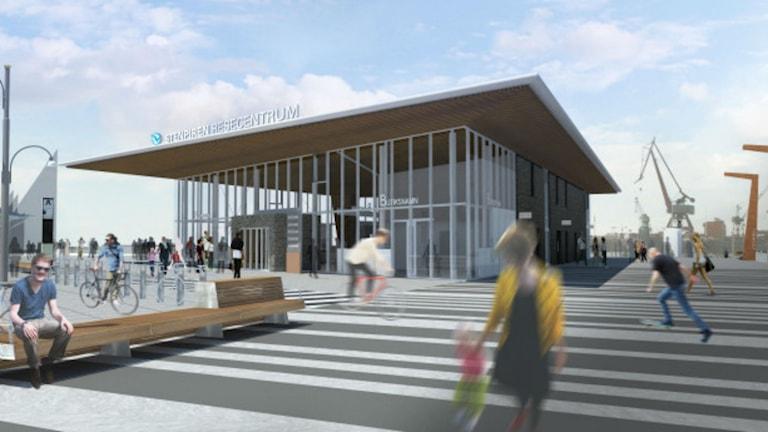 Stenpiren resecentrum, glasad byggnad med snett tak. Foto: tagen från Västtrafiks hemsida