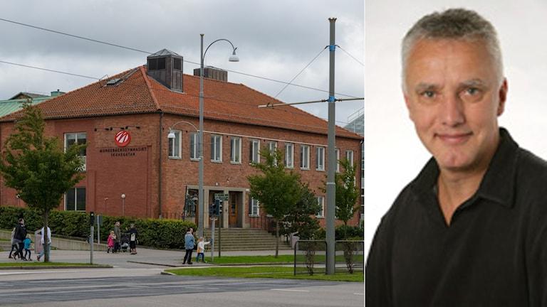 Bild på Munkebäcksgymnasiet och rektorn på Munkebäcksgymnasiet Bengt Broberg.