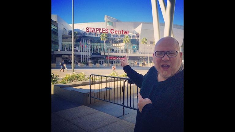 Mattias Bylund utanför Staples Center