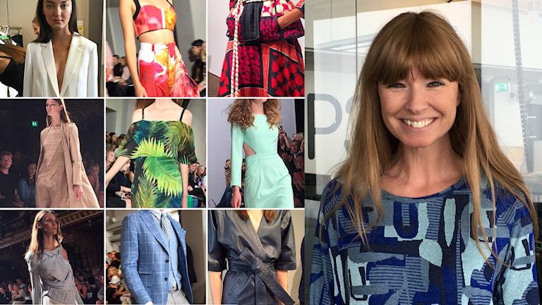 Många bilder på olika vårkläder samt en bild på Frida Zetterström