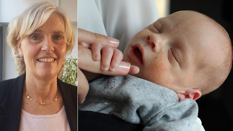 Två bilder, en på en kvinna och en på en bebis