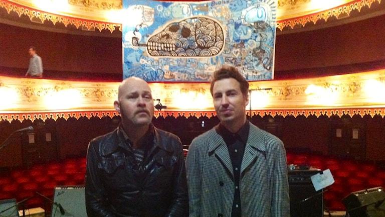 Johnny Essing och Christian Gabel på Stora Teatern inför stumfilmskonserten. Foto: Markus Bergfors / SR