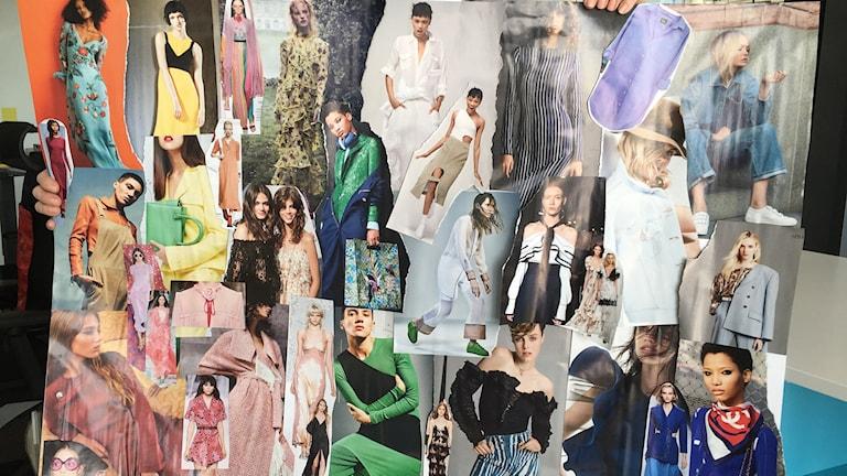 Collage med olika bilder på kläder