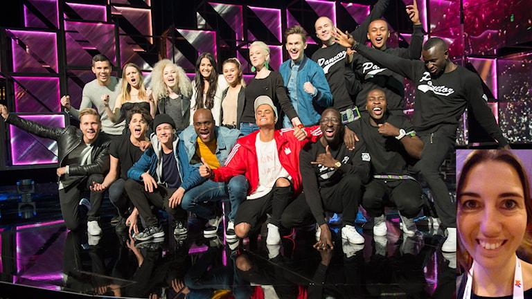 Alla finalister i Melodifestivalen 2016 och Sveriges radios Jonna Burén infälld.