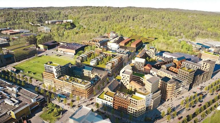 En vision av hur ett nytt bostadsområde i Högsbo industriområde kan komma att se ut. Det är flervåningshus i kvarter med plats för fler hus.