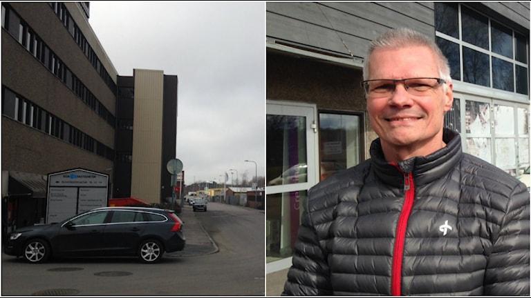 Ambulansens nya lokaler på Ruskvädersgatan och tf verksamhetschef Leif Persson.