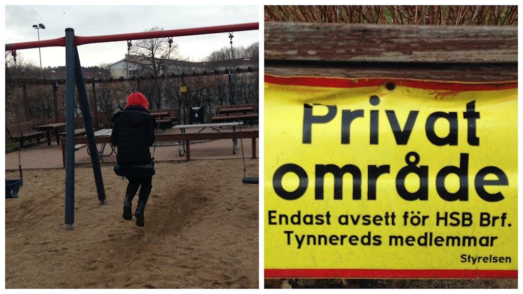Gula skyltar möter lekande på Turkosgatan i Frölunda.