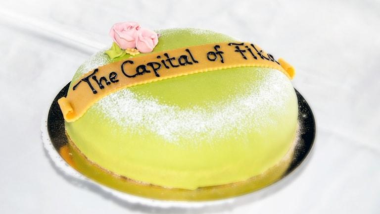 Tårta som serveras på presskonferens av lanseringen av namnet Alingsås - the capitol of fika