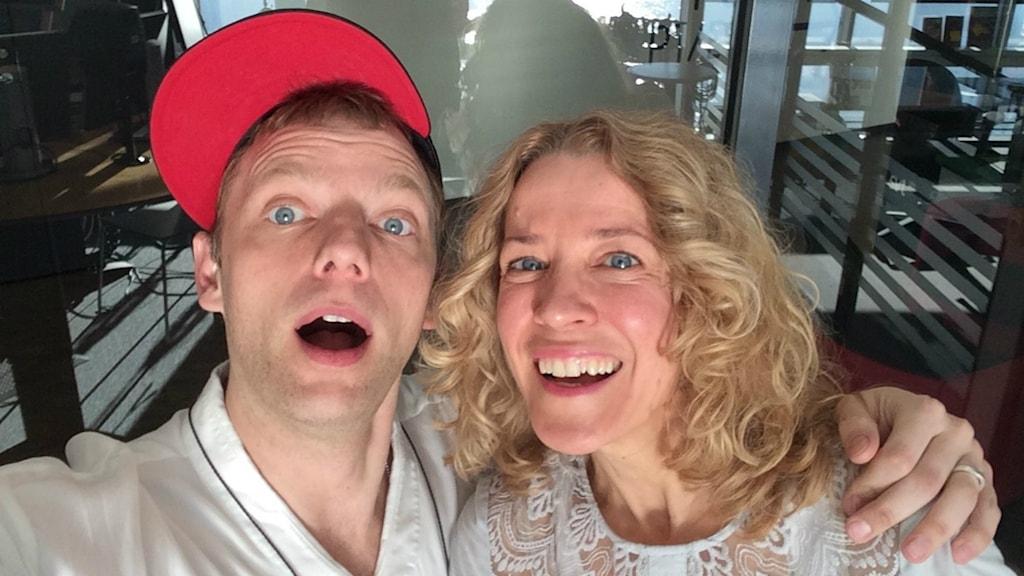 Skådespelaren Mattias Brunn och Sveriges Radios Ylva Nilsson