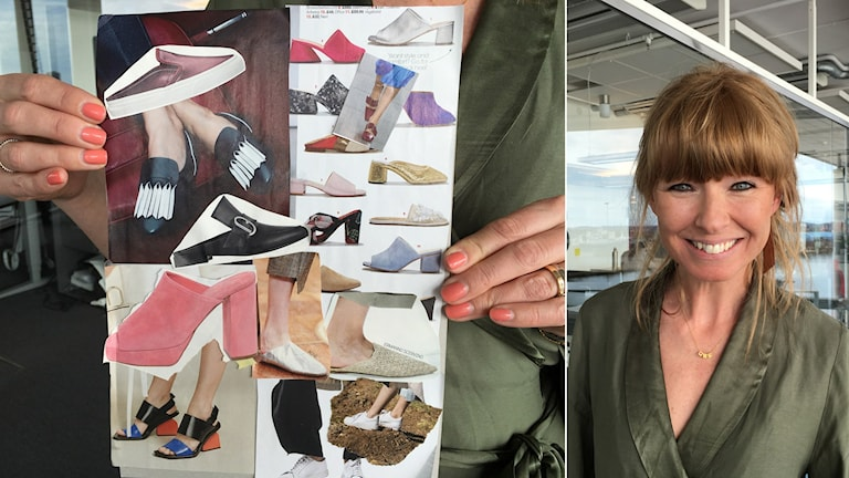 Bild på ett collage med skor, samt bild på Frida Zetterström