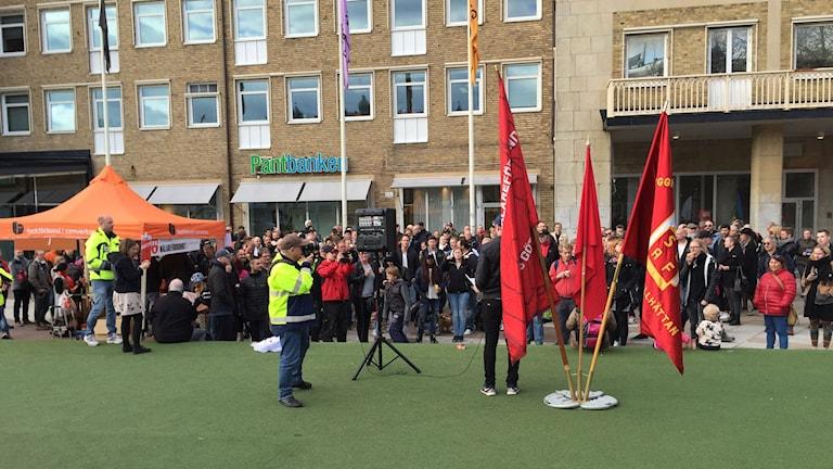 Manifestation på Järntorget till stöd för Byggnads och Målarnas strejker.