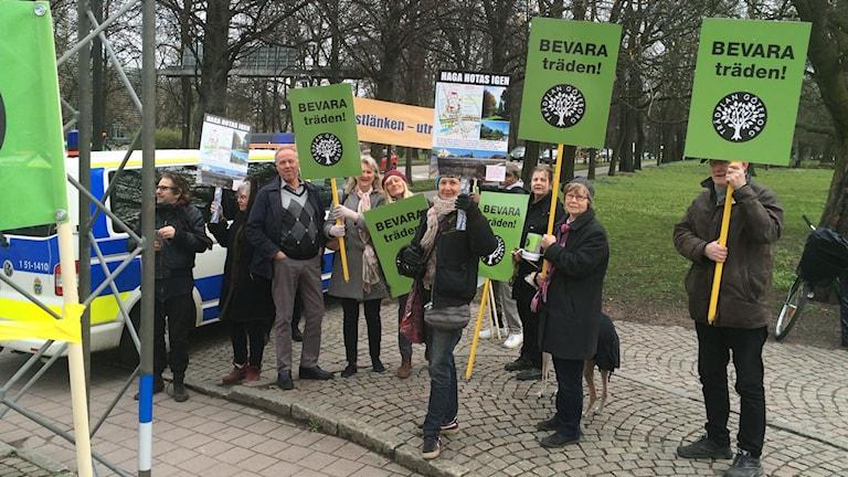 Protest mot flytten av träden i Haga.