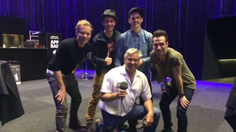 De fyra huvudrollsinnehavarna i musikalföreställningen Jersey Boys