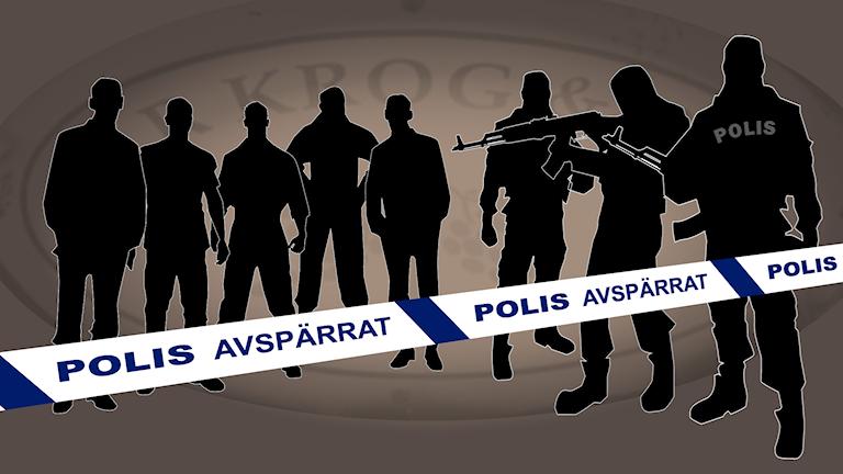 Illustration av de misstänkta för skjutningarrna på Vår krog och bar i Göteborg.