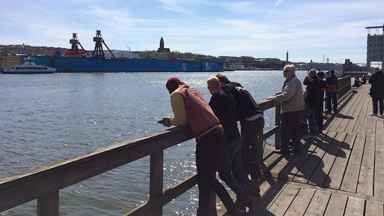 Några göteborgare samlades i solen för att se dockan bogseras iväg till Frankrike.