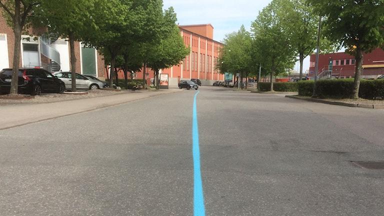 Här är den blå linjen på LIndholmen.
