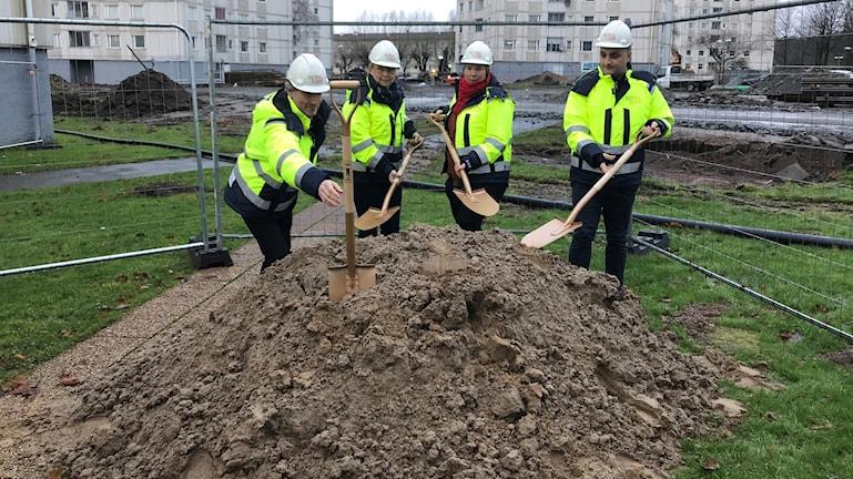 Fyra personer gräver i en sandhög