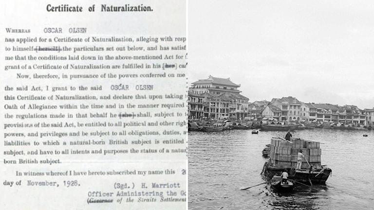 Ett certifikat som ger Oscar Olson medborgarskap i Singapore.