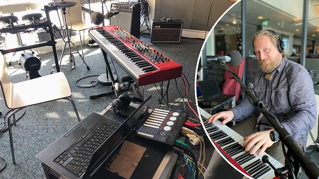 Synt, laptop och mikrofon