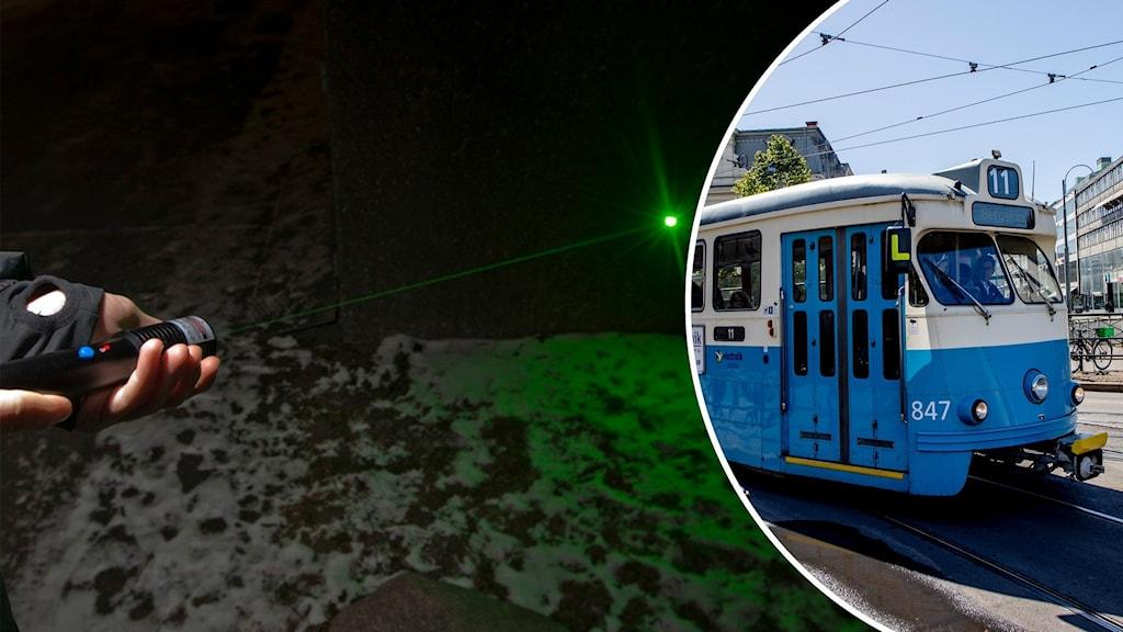 Laserpekare mot spårvagn