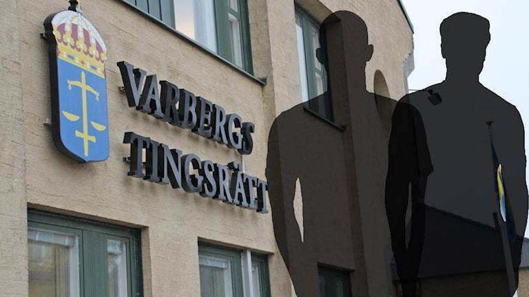 Siluetter av två män syns framför Varbergs tingsrätt.
