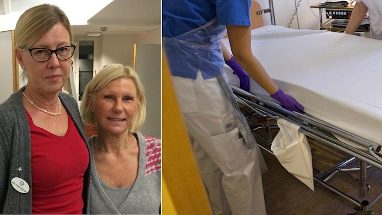 Sofia Tholén Dahlman huvudskyddsombud på Vårdförbundet och Siv Karlsson, Kommunal, Kungälvs sjukhus.
