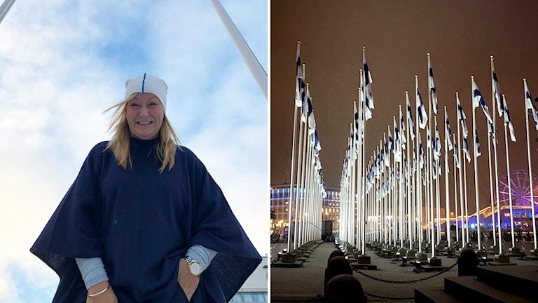 En kvinna och massor med flaggstänger med finska flaggan hissad.