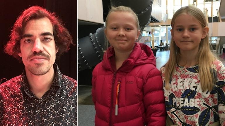 Rapparen David Ekman och femteårseleverna Annie Carlsson och Filippa Rödin från Kungälv.