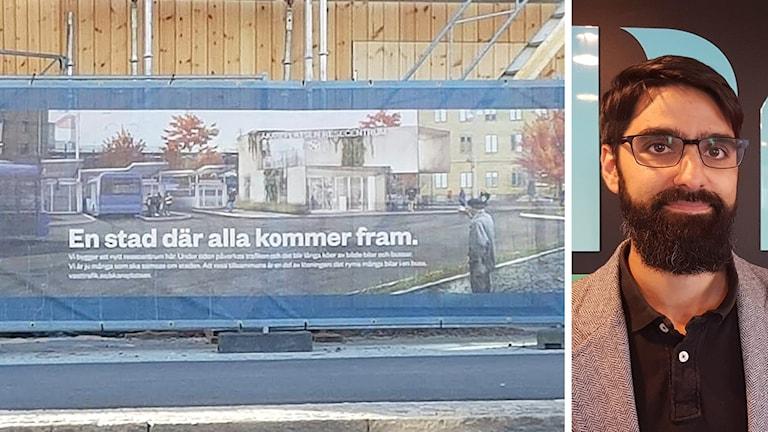 En banderoll där det står en stad där alla kommer fram samt en bild på en mörkhårig man med glasögon