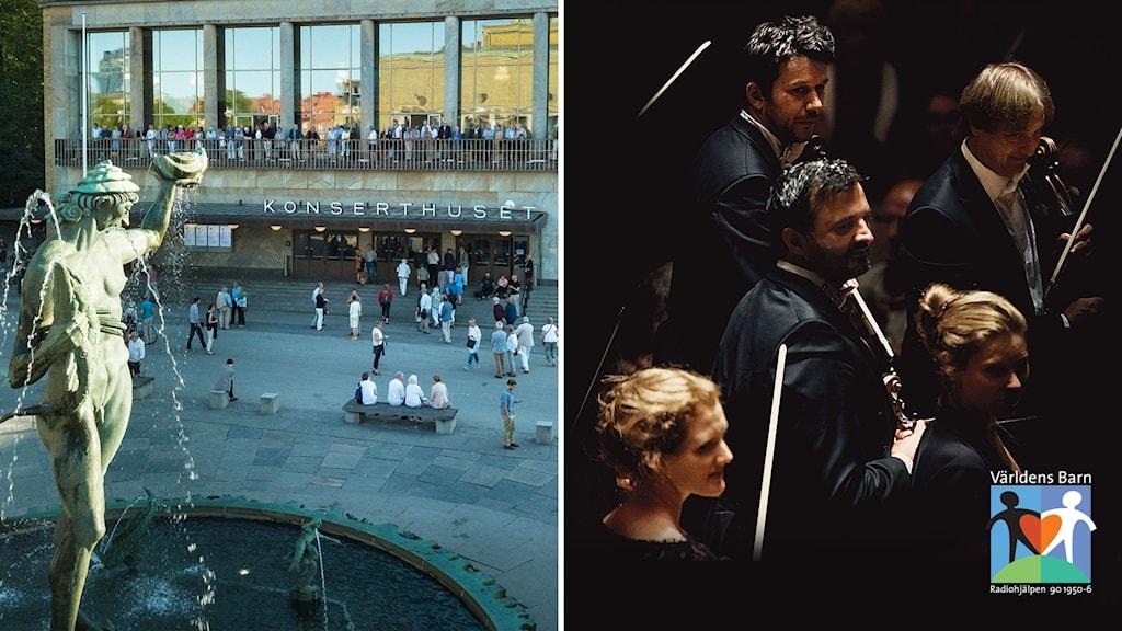 Tvådelad bild: Konserthuset och fyra musiker med fioler.