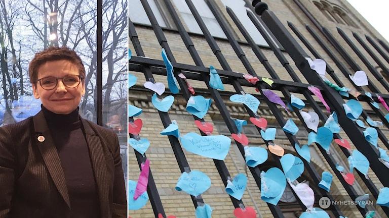 En kvinna. Till höger Synagogans stängsel med kärlekslappar på.