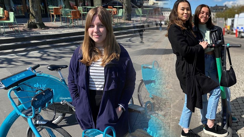 Kvinna vid hyrcykelparkering och två unga kvinnor på en elsparkcykel.