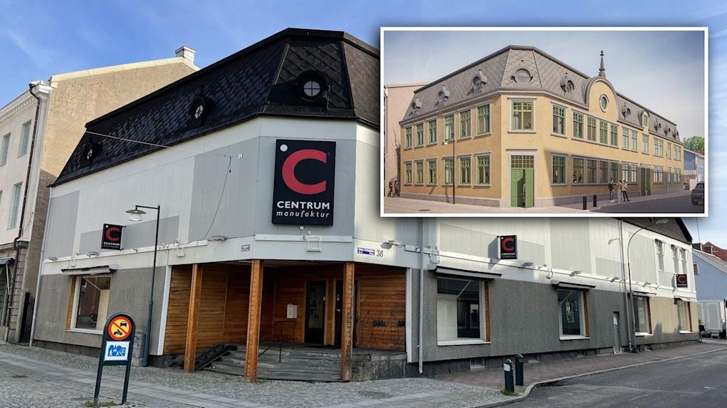 Byggnad i Alingsås och en skiss på hur den ska komma att se ut.