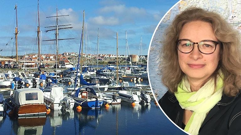 Kvinna med glasögon infälld i bild från småbåtshamn