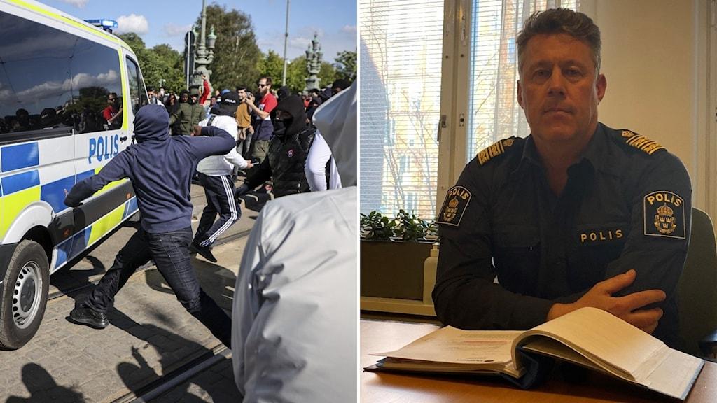 Man med polisuniform vid bord med pärm framför sig och en person som kastar någonting mot en polisbil.