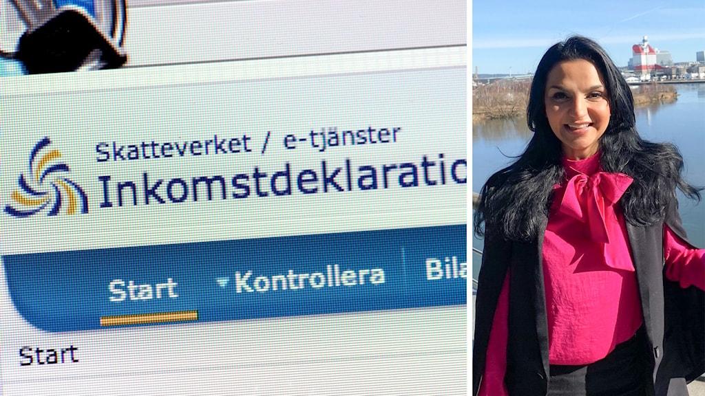 Kvinna i rosa skjorta vid deklaration Shoka Åhrman