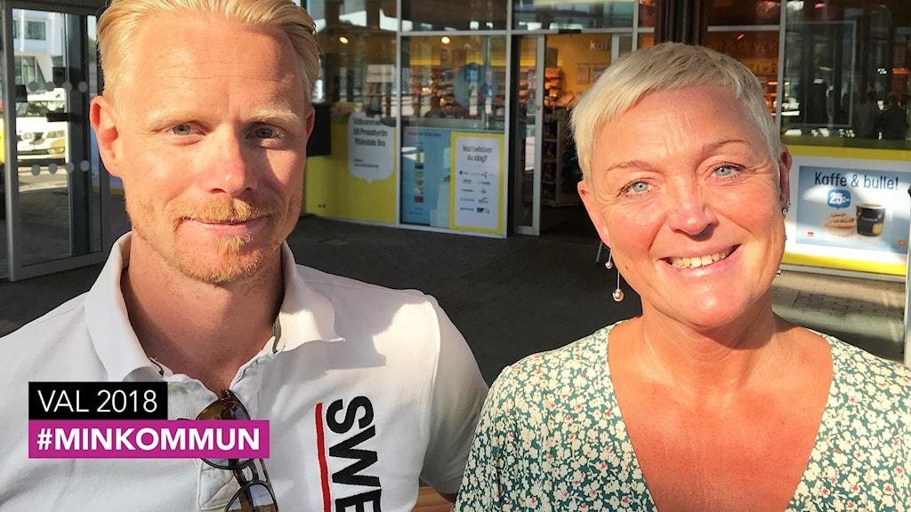 En man och en kvinna, båda med blont kortklippt hår.