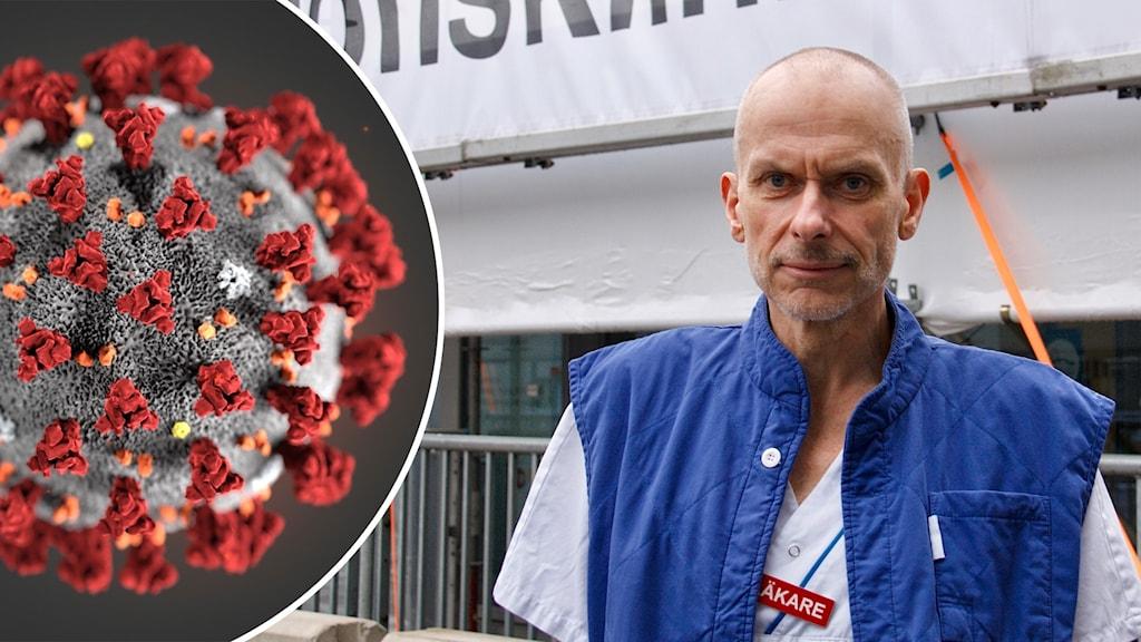 Tvådelad bild. Coronavirus till vänster. Till höger en halvbild på man i läkarkläder