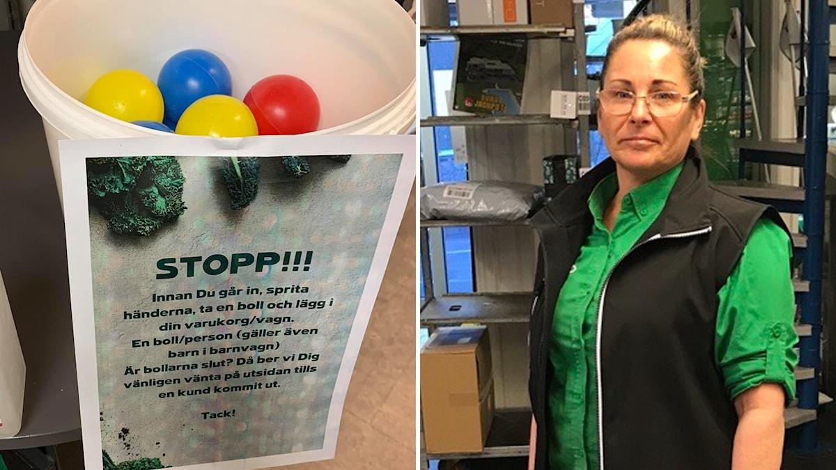 plastbollar i hink och kvinna
