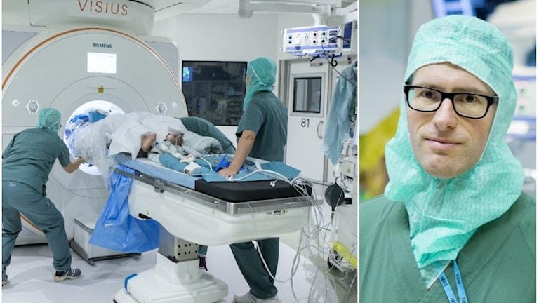 En person körs in i den nya rörliga MR-kameran. Till höger överläkare Daniel Nilsson.