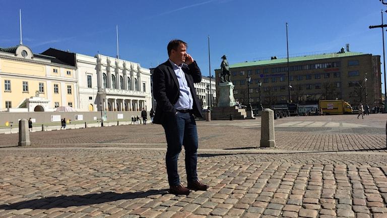 Martin Wannholt vid maktens torg i Göteborg.