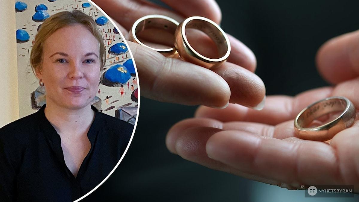 Julia Karhu och två händer med ringar.