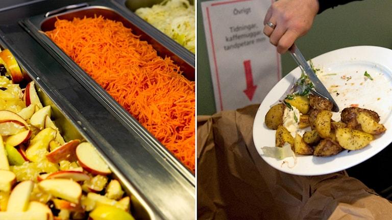 Delad bild: Grönsaker i en skolmatsal, tallrik som skrapas i en soptunna