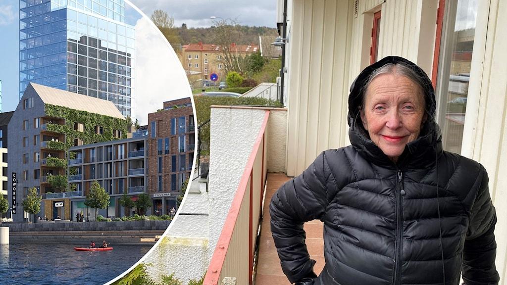 Äldre kvinna på sin balkong med gamla gula tegelstenshus i bakgrunden